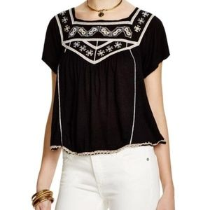 Free People Black Muse Embroidered Blouse